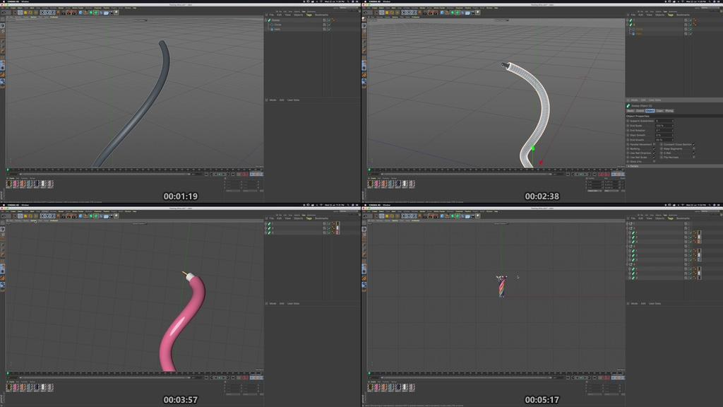 C4D扭曲线循环动画教程下载