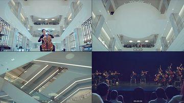 拉提琴的美女视频素材