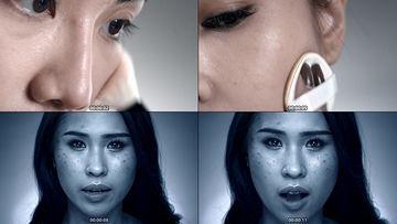 用劣质化妆品导致的肌肤问题视频