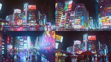 日本新宿城市夜景视频素材