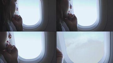 透过飞机窗户看到内容转场实用