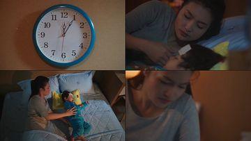 母亲带娃的辛苦小孩发烧视频素材
