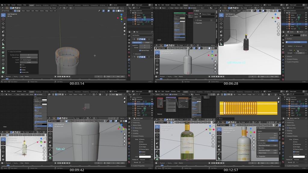 3D酒瓶模型Blender 2.90 教程