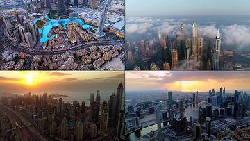 4K航拍迪拜市中心高楼大厦