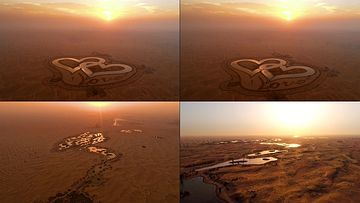 4K沙漠里的心形图案视频素材