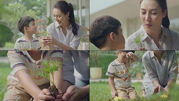和妈妈一起种树视频素材