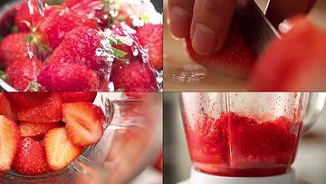 切草莓做草莓汁视频素材