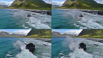 4K撞击石头的浪花视频素材