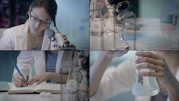 搞科研的美女科学家视频素材