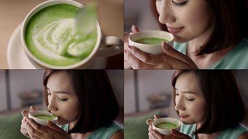 喝绿茶的女孩视频素材