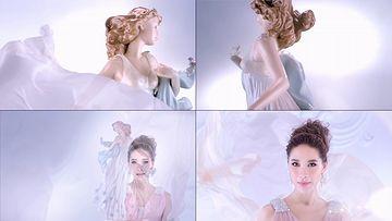 美女和丝绸演绎视频素材