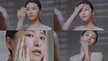 洗脸擦面霜的美女视频素材