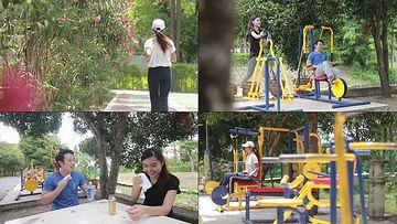 在公园里运动的年轻人