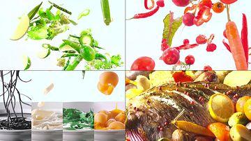 向空中飞起的水果和蔬菜
