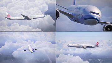 中国国际航空的飞机在天上视频