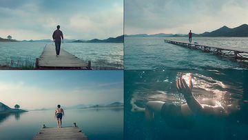 成功男人跳入水里的视频