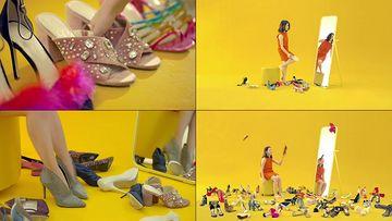 女人不停换鞋视频素材