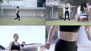 做有氧运动的美女视频素材