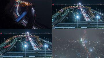夜景高速公路上的车流视频