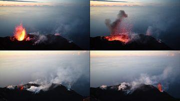 海边的火山喷发视频素材