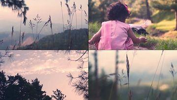 山顶的小草和小女孩