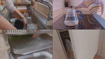 打扫厨房卫生的居家女人
