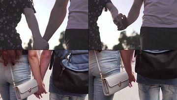 牵手的情侣爱情视频素材