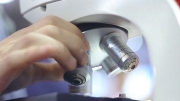 科学家旋转显微镜的镜头