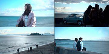 海边游玩的行人视频素材