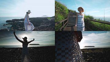 穿裙子去海边漫步的美女