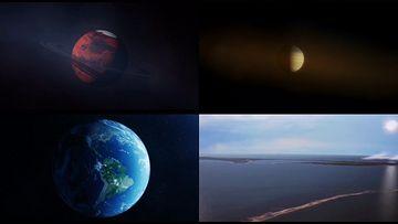 土星陨石撞击地球视频素材