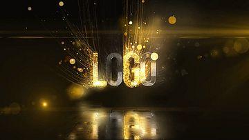 金色粒子光线标志AE模板