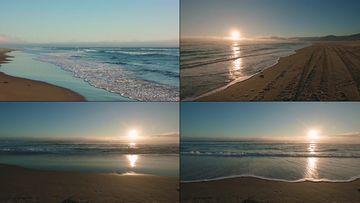 4K小清新沙滩海滩波浪