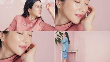 小清新粉色韩系美少女视频素材