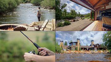 湖边钓鱼的戴帽子男人视频素材