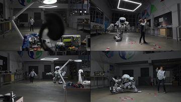 和小孩子一起跳舞的机器人视频素材