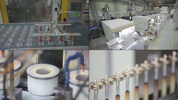 化妆品公司生产化妆瓶视频素材