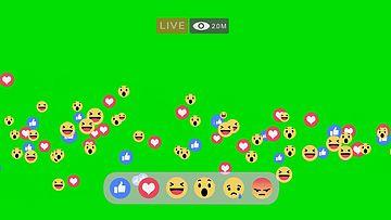 直播实用表情包飞舞绿幕视频素材
