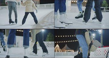 滑雪玩的一家三口视频素材