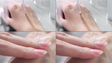 精华液涂在手上视频素材