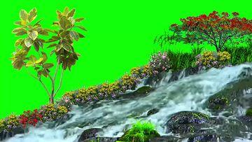 斜坡流水花草绿幕视频素材
