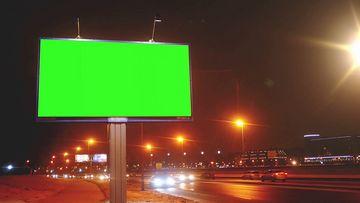 高速公路旁的广告牌抠图视频素材